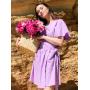 Лиловое льняное платье на запах