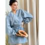 Серое льняное платье кимоно