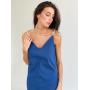 Синее платье комбинация миди из льна