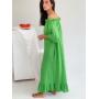 Зеленое длинное льняное платье