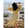 Желтое длинное льняное платье кимоно