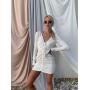 Белое платье мини с драпировкой спереди