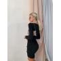 Черное платье мини с драпировкой спереди