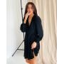 Черное шелковое платье с V декольте