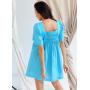 Бирюзовое платье с рукавами фонариками