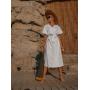 Льняное белое платье халат миди
