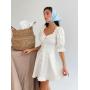 Молочное льняное платье с буффами