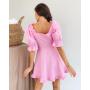 Розовое льняное платье с буффами