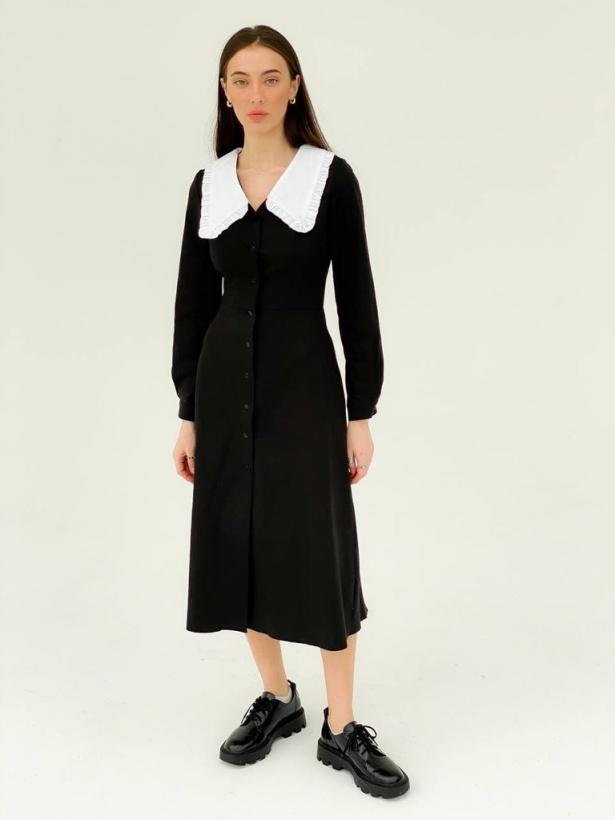 Черное платье миди с воротником