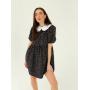 Черное платье мини с воротником