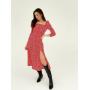 Красное платье миди в цветы с разрезом