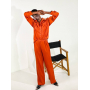 Оранжевый шелковый брючный костюм