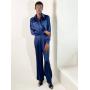 Синий шелковый брючный костюм