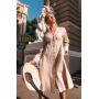 Бежевое платье миди из плотного льна