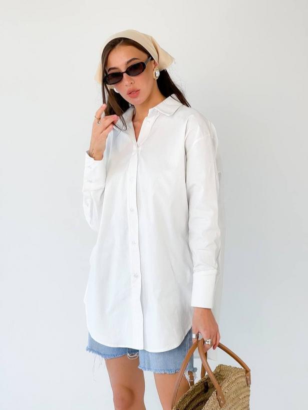 Белая хлопковая рубашка oversize