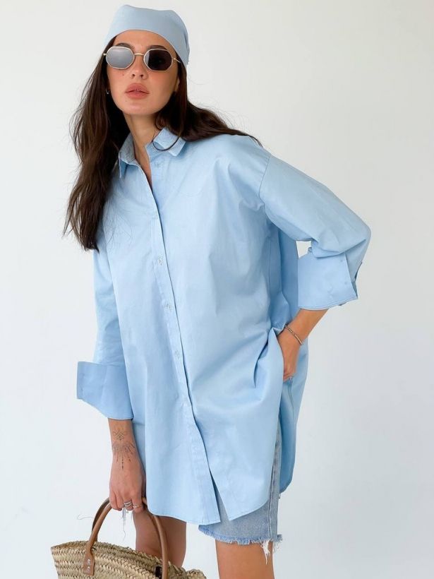 Голубая хлопковая рубашка oversize