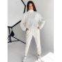Молочный спортивный костюм с кроп свитшотом