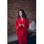 Красный брючный костюм кимоно
