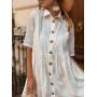 Молочное платье рубашка с вышивкой