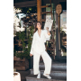 Молочный брючный костюм кимоно